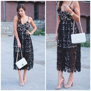 NWT Aqua Black Crochet Lace Midi Dress